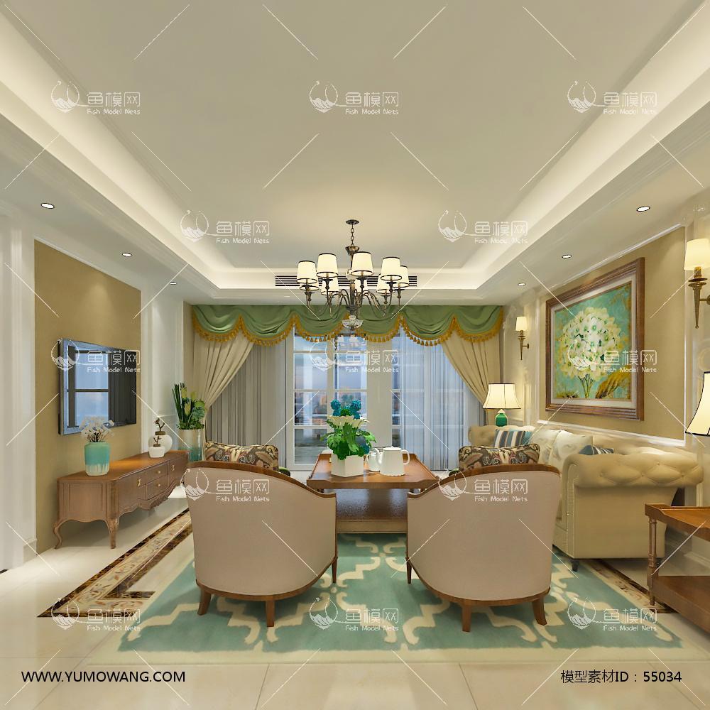 美式整体家装客厅餐厅3D模型下载-[ID]55034
