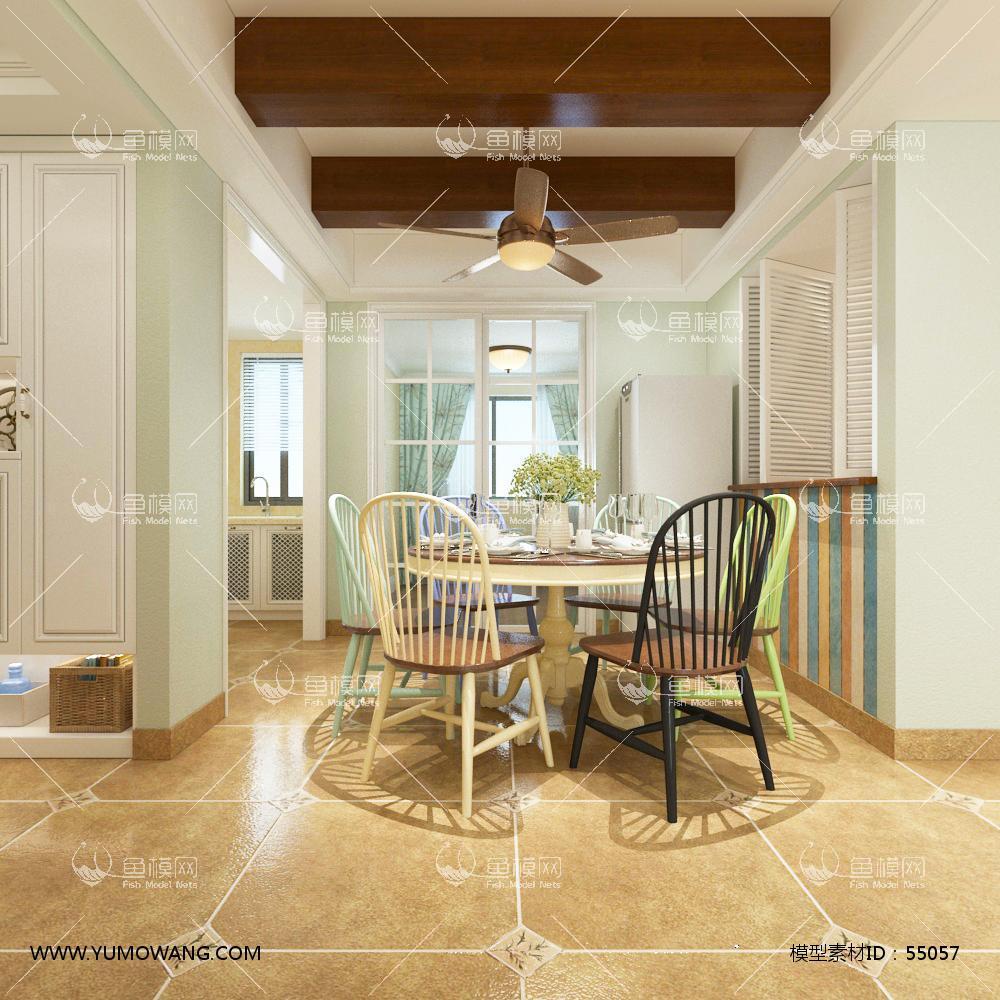 地中海整体家装餐厅空间3D模型下载-[ID]55057