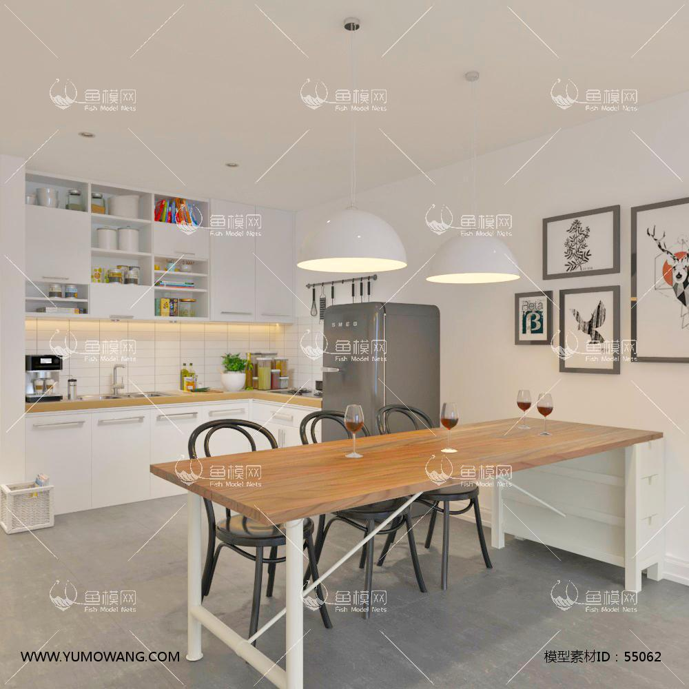 北欧风餐厅厨房3D模型下载-[ID]55062