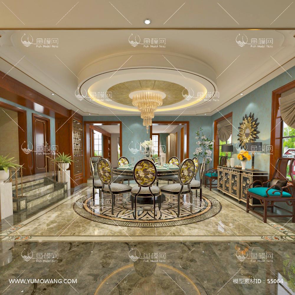 混搭风格餐厅茶室3D模型下载-[ID]55064