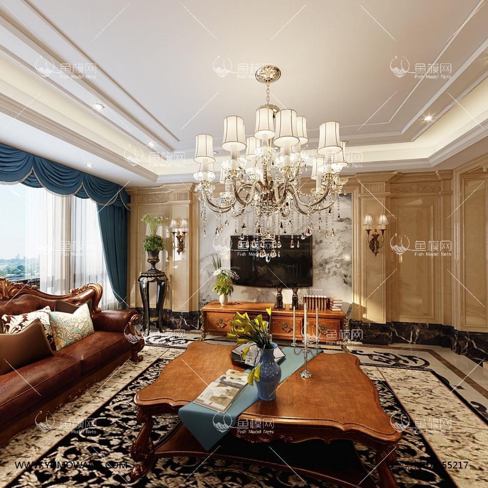 欧式整体家装客厅餐厅3D模型下载-[ID]55217