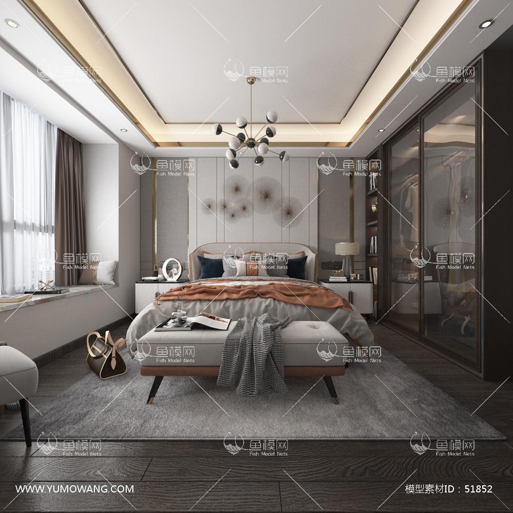 现代主卧室空间3D模型下载-[ID]51852