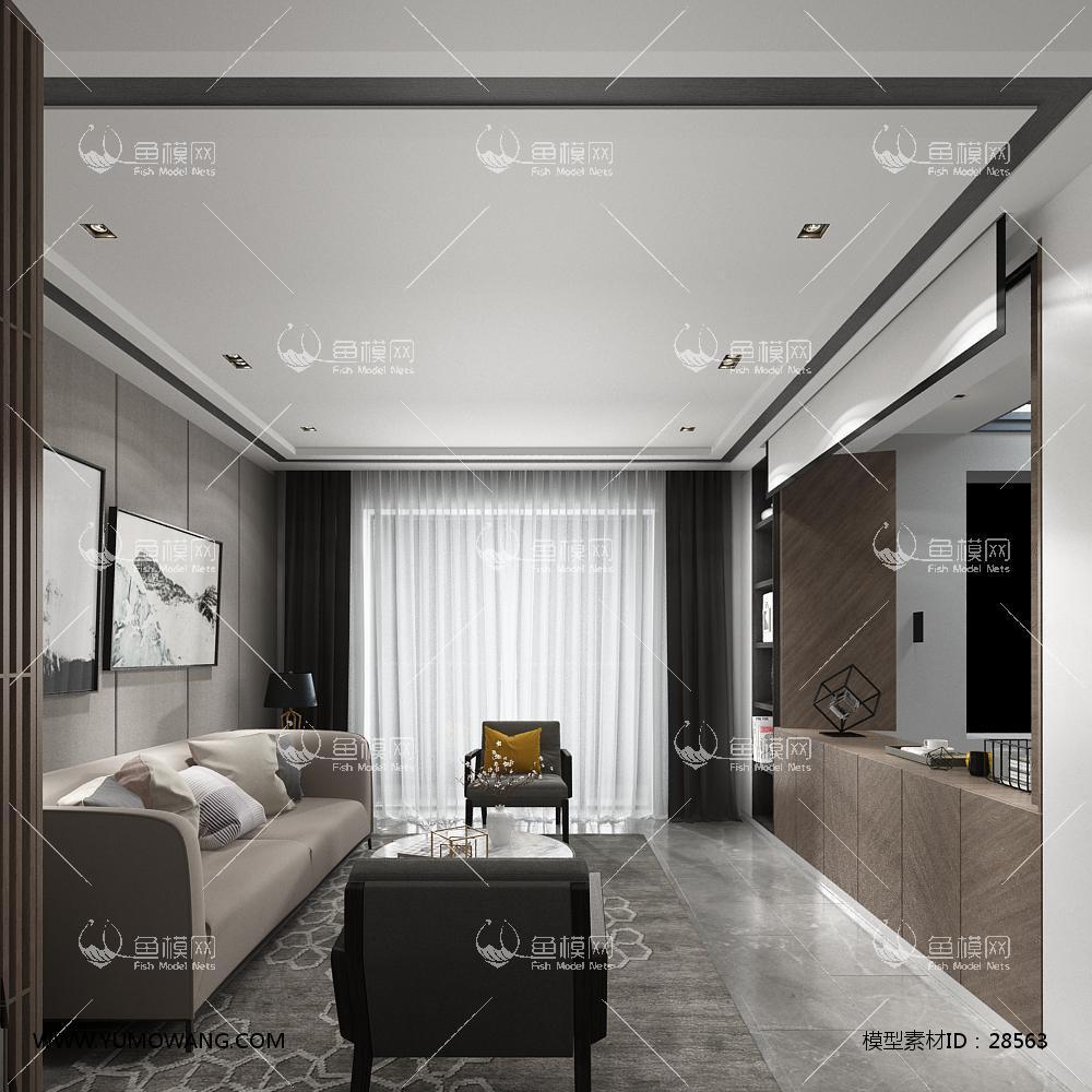 现代中式客厅餐厅3D模型下载-[ID]28563