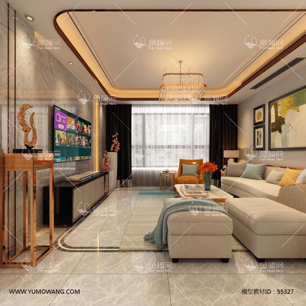 现代整体家装客厅餐厅3D模型下载-[ID]55327