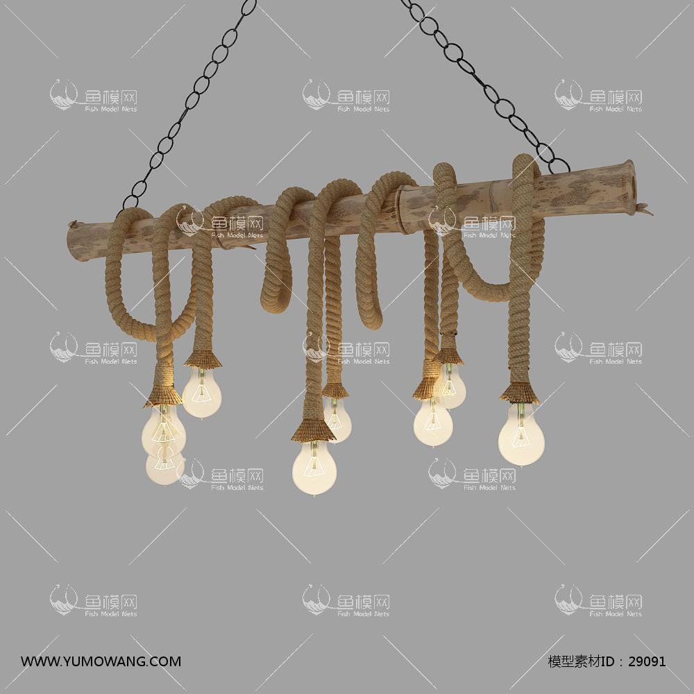 工业风麻绳装饰灯3D模型下载-[ID]29091