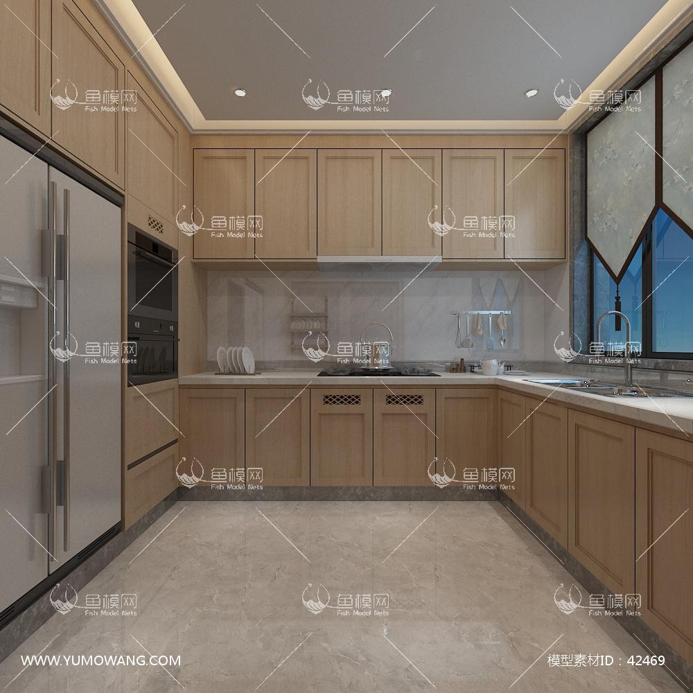 新中式厨房橱柜3D模型下载-[ID]42469