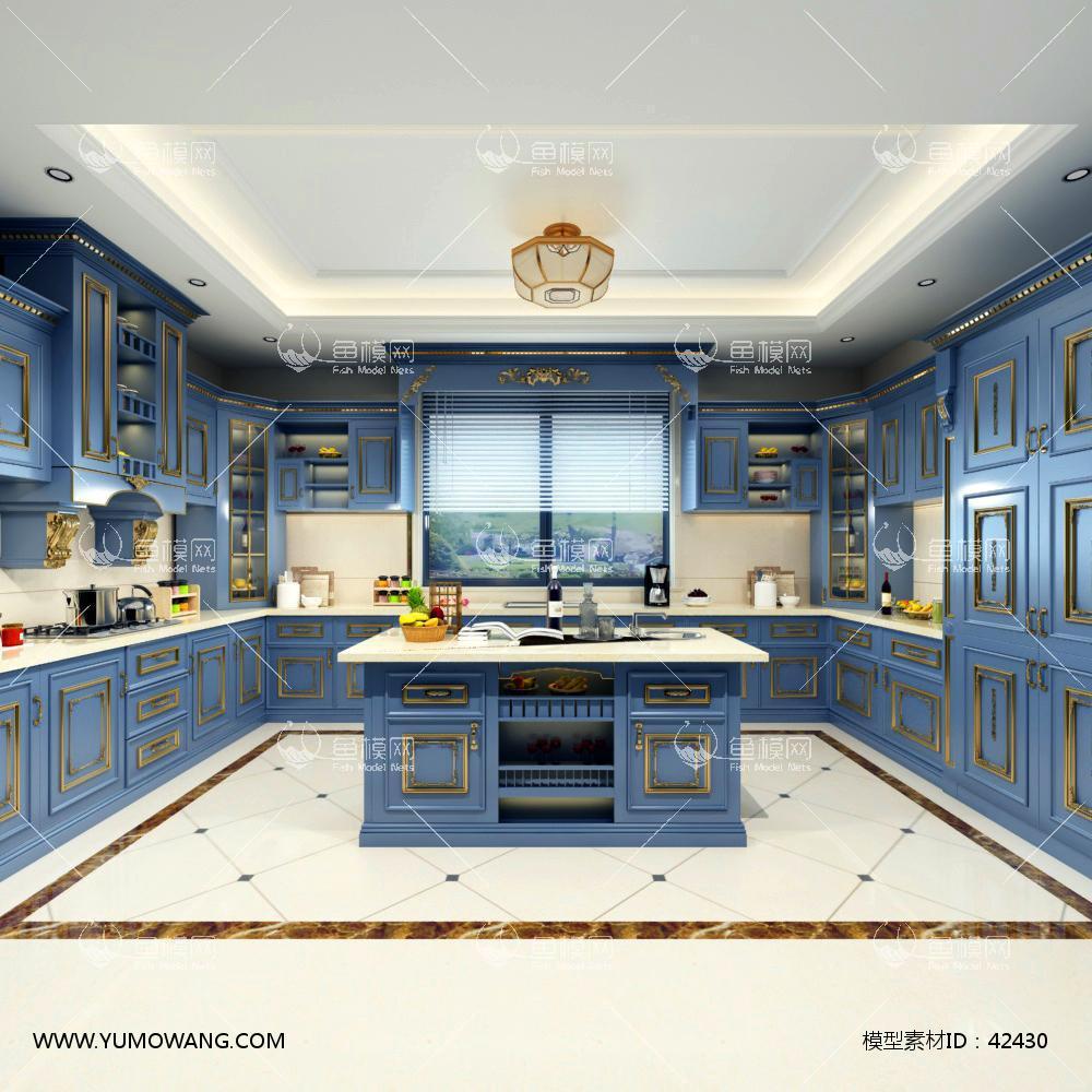 欧式厨房3D模型下载-[ID]42430