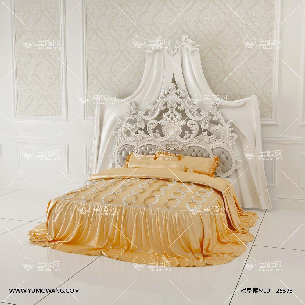 欧式白色雕花奢华双人床3D模型下载-[ID]25373