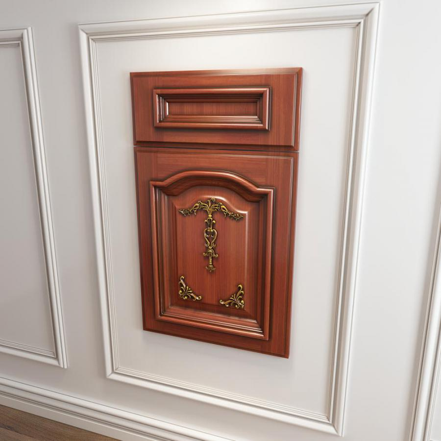 橱柜衣柜实木起拱雕花描金门板原创3d模型下载