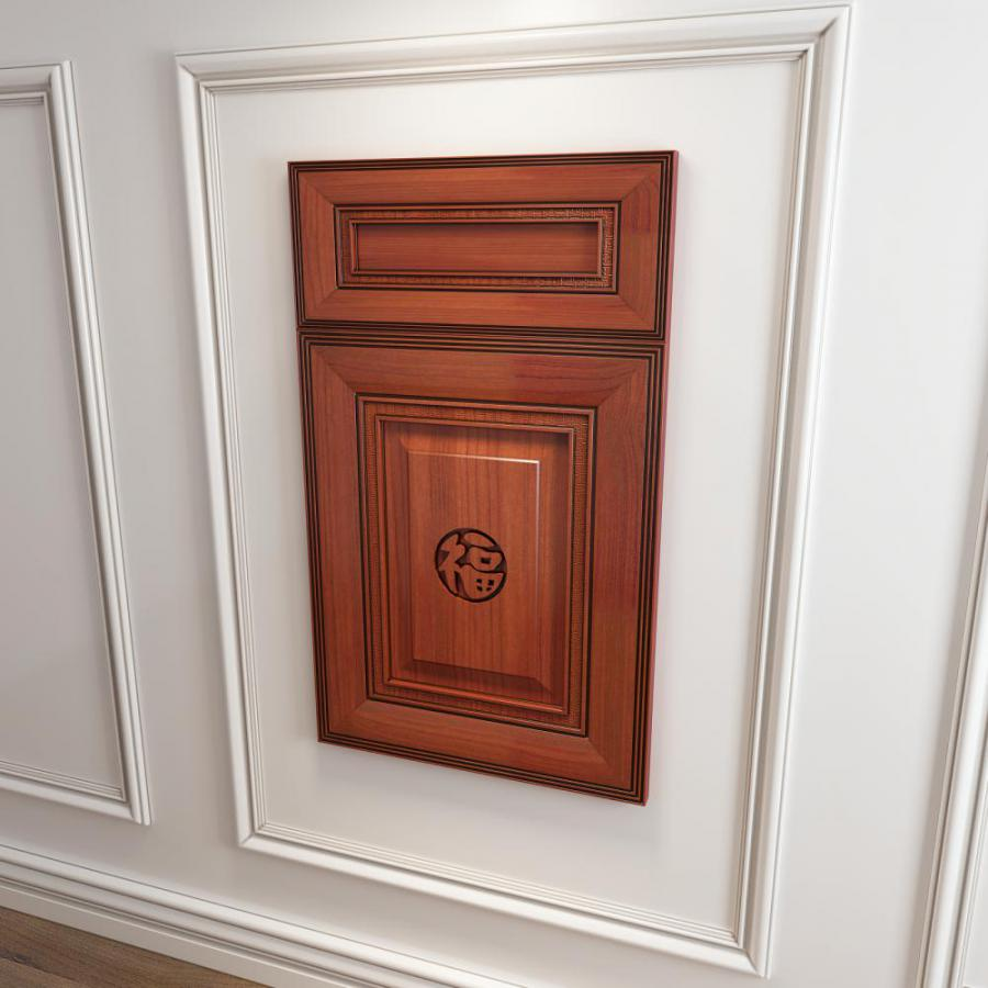 橱柜衣柜回字型中式福字门板门型原创3d模型下载