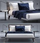 现代双人床床头柜台灯组合3D模型下载-[ID]19581