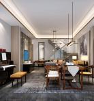 新中式风格整体家装别墅大厅3D模型下载-[ID]48809
