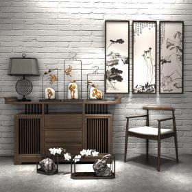 北欧现代原木柜子椅子组合3d模型