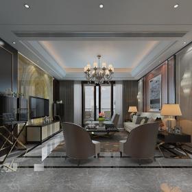 现代简洁大气有格调的客厅103d模型