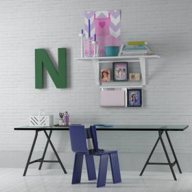 纯木简约书桌椅  (3)3d模型