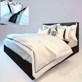 简约美式卧室床3d模型