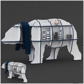 现代白色装饰柜装饰摆件组合3d模型