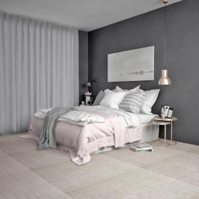 中式双人床床头柜台灯脚榻组合3d模型